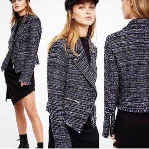 🍂FREE PEOPLE Nicole Tweed Moto Shape Blazer